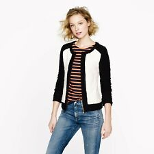 J.Crew Boucle Jacket XS Black Ivory White Cotton Colorblock crop sleeve zipper