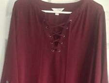 Woman's Size 2X Dark Burgundy V-Neck Top w/ String by Decree