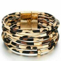 Damen Wickelarmband LederLook Leopard Armband Modeschmuck Wristband Mansche X3N8