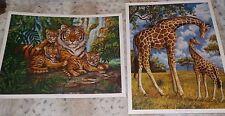 "Pair of African wildlife safari prints, Gary Lessord, giraffe, tiger, 12"" x 16"""