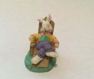 Relaxing Sleeping Father Bunny Figurine - COTTONTAIL LANE VILLAGE~ HTF!