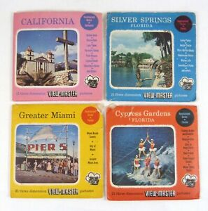 4 Sawyer's View-Master Packets Miami Cypress Silver Springs Florida California