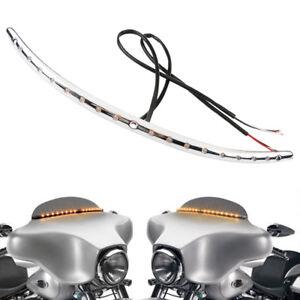 Turn Signal LED Light Windshield Trim For Harley Touring FLHX FLH Tri Glide 14-
