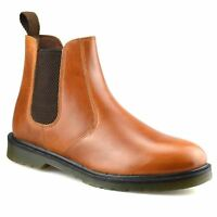 Mens New Leather Chelsea Dealer Work Formal Ankle Biker Airsole Boots Shoes Size