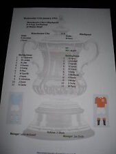 FA Cup 1955-56 3rd ROUND Manchester City V Blackpool matchsheet