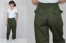 Vintage 80s Army Issued Green HIGH Waist Retro Utility Trousers Pants 31x28