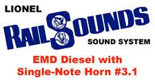 Lionel EMD Diesel RailSounds Sound System -- Single-Note Horn #3.1 -- GP-7 etc.