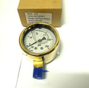 "Pressure Gauge 2-1/2"" Face Brass Case -30"" Hg-0-200 PSI 1/4"" NPT L Fill  < T0013"