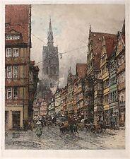 HANNOVER - Schmiedestraße & Marktkirche - Luigi Kasimir - Farbradierung 1920