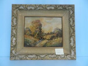 "VINTAGE ORIGINAL ART SIGNED ""BROWN"" LANDSCAPE PAINTING Ornamental Frame"
