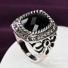 18K White Gold Plated Simulated Black Agate Vintage Large Men's Ring
