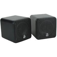 "Pyle PCB4BK 4"" 200 Watt Mini Cube Speaker Pair Black"