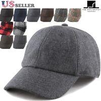 Men Women Wool Blend Plaid Baseball Cap Hat