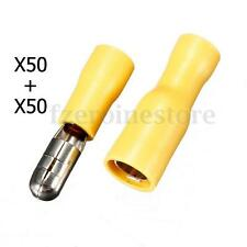 100x Yellow Assorted Female + Male Bullet Butt Connector Crimp Wire Terminals