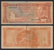 Etiopia - Ethiopia - 5 Ethiopian Dollars  ND 1966  Pick 26  BC+ = F+