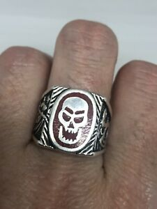 Vintage Skull Ring Silver White Bronze Southwestern Red Coral Size 7.5
