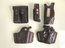 2 sets of 9 mm leather gun holster & magazine pouch for belt & inside + extras