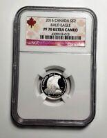 2015 Canada $2.00 Silver Bald Eagle 1/10 Oz .9999 NGC PF 70 Ultra Cameo