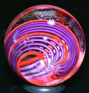 """JAMES ALLOWAY GLASS MARBLE/1.192""""-DICHROIC PURPLE RED # 2873-LAVENDER & CHERRY"""