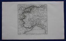 ORIGINALE ANTICO Map, Italia, Piemonte, Lombardia, TORINO, GENOVA, a.h Dufour, 1859