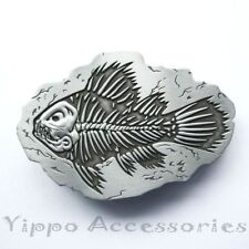 Fish Fossil Bone Metal Fashion Belt Buckle