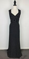 REVIEW Size 12, 14 Women's Party/Cocktail Maxi Dress V-Neck Black White Stripes