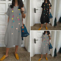 Summer Womens Loose Solid Crew Neck Short Sleeve Casual Shirt Dress Midi Dress