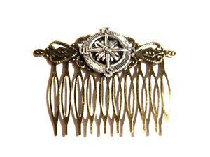 BRONZE STEAMPUNK HAIR COMB head ornament bun teeth silver pirate nautical 2I