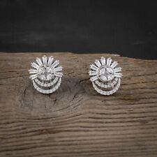 Women CZ Fashion Earrings Cubic Zirconia Stud Earring Silver Plated Ear Jewelry