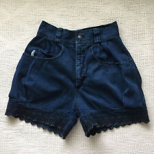 "Vintage High Waist Mom Jeans Shorts XS/S 28"" Scalloped Dark Wash Denim Hi Rise"