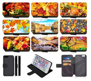 Autumn Fall Seasonal Scenery Leaves Wallet Flip Phone Case iPhone