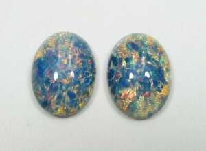 Blue Opal Glass Cameos - 18X13mm Oval Cabochons Handmade Czech Lampwork 2pcs