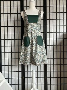 Vintage 70s Mod Mini Scooter Dress Pinafore Pockets Apron Style Green Jumper XS