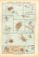 Carta geografica antica AFRICA CAPO VERDE SAO TOME' De Agostini 1927 Antique map