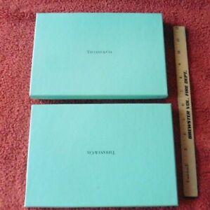 "2 Tiffany & Co Authentic Presentation Blue Gift Box Blue Interior Vintage 9""x6"""