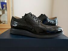 NEW COLE HAAN ORIGINAL GRAND LONG WINGTIP Black Patent Lunaron sz 10 Mens