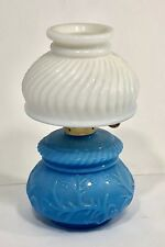 Vintage Avon Milk Glass Courting Lamp, Blue Glass Decanter w White Shade