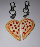 Cute BFF Pepperoni Pizza Clay Pizza Charm Keychain Pepperoni Fob Accessory