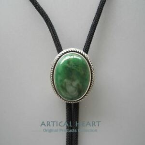 Silver Plated Handcraft Nature Green Stone Western Cowboy Rodeo Bolo Tie