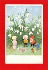 Gnomes + Imp Fantasy Vintage Postcard