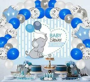Baby Shower Party Supplies Decorations for Boy, Elephant Backdrop with
