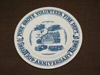 VINTAGE 1933-1963 PINE GROVE VOL FIRE DEPARTMENT 30TH ANNIVERSARY SOUVENIR PLATE