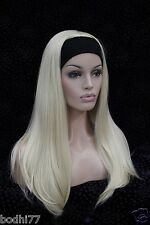 Hot Sell New 3/4 wig with headband pale blonde straight long women's half wigs