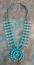 COWGIRL Bling turquoise SQUASH BLOSSOM  Western SILVER TONE Gypsy NECKLACE set