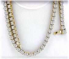11.76 carat Round cut Diamond Tennis Necklace 14k Yellow Gold 0.09-0.10 ct each