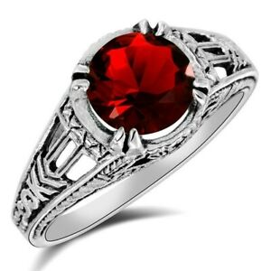 2CT Ruby 925 Solid Sterling Silver Filigree Ring Jewelry Sz 9, WF7
