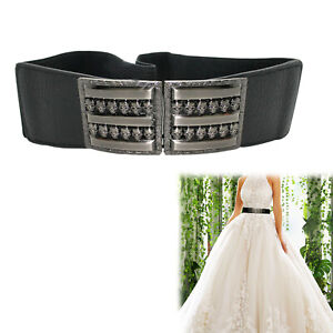 Black Elasticated Waist Belt Stretch Silver Buckle for Ladies Dress Waistband