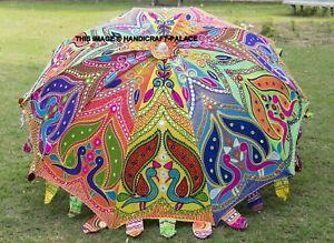 Jardin Parasol Paon Brodé Indien Extérieur Soleil Ombré Chemin Parapluie