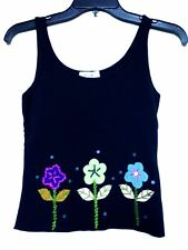 Moschino Black Floral Tank Top Size 38 Italy
