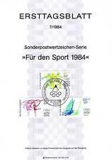 RFA 1984: Jeux Olympiques! Enveloppe premier jour de Aident les marques à sports
